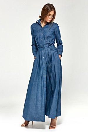 Nife jeansowa sukienka maxi s93